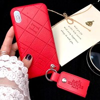 Hermes Fashion New Letter Leather Case Personality Couple Phone Case Cover Red