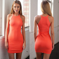 Orange Halter Sleeveless Bodycon Mini Dress