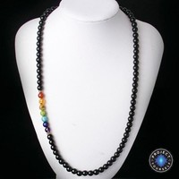 7 Chakra Black Agate Beads Necklaces