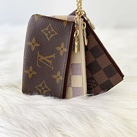 LV Louis Vuitton Vintage Classic Presbyopia Canvas Short Key Case Coin Purse-5