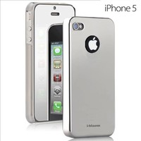 i-Blason Novel Series Slim Fit Chrome Hard Case Cover for Apple New iPhone 5 AT&T, Sprint, Verizon 4G LTE with Bonus Screen Protector Retail Package (Silver)   AihaZone Store