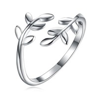 Silver plant adjustable ring
