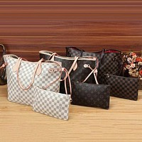 Louis Vuitton Women Fashion Leather Handbag Bag Cosmetic Bag Two Piece Set