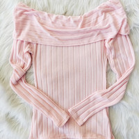 Pink Ribbed Off The Shoulder Top