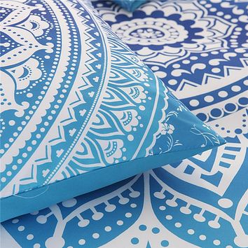 Bohemian Bedding Sets Mandala Printing Blue White Duvet Cover Set Queen King Size Cotton Bed linen Bedsheet Pillowcase