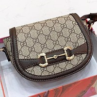 GUCCI Fashion new more letter leather shopping leisure shoulder bag crossbody bag handbag saddle bag