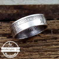Great Smoky Mountains 90% Silver National Park Coin Ring