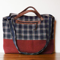 Plaid Messenger Bag Diaper bag Navy blue rust brown wool fabric Leather hand strap MacBook Bag