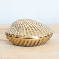 Solid Brass Clam Shell Shape Ashtray, Covered Trinket Dish, Secret Container, Nautical Beach Decor