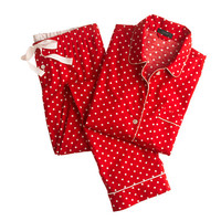 J.Crew Womens Pajama Set In Polka-Dot Flannel