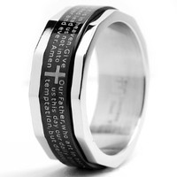 Two Tone Stainless Steel Ring with Lords Prayer and Cross Design Size 10