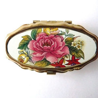 Small Pill Box - Vintage Metal Box with Plastic Interior - Flowers Pink - Golden