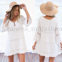 BOHO Casual Ladies Long Sleeve Cotton Lace Hollow Loose Mini Dress Beach Party