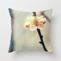 White Blossoms Throw Pillow by Pati Designs