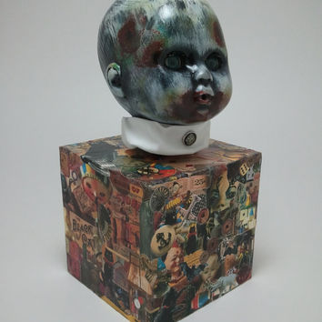 Original OOAK Oscar Macabre Altered Doll Decoupage Horror Zombie Doll Music Box Rockabye Baby