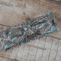 Ready To Ship Teal Gray White Birds Aviary Designer Fabric Top Knot Headband Head Tie Headwrap