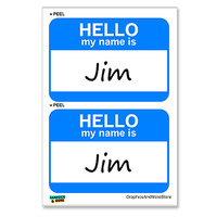 Jim Hello My Name Is - Sheet of 2 Stickers