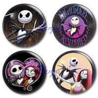 The nightmare before christmas glass cabochon, Round photo skull Jack glass cabochon demo flat back Making findings.