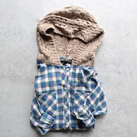 Final Sale - Boyfriend Plaid Shirt with Knit Hood - Blue