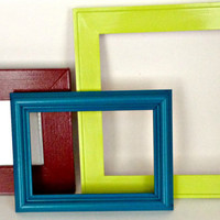 FREE SHIPPING--Set of Three Frames--8 x 10 / 5 x 7 / 4 x 6 / Turquoise / Lime Green / Maroon / repurposed / blue / red / green