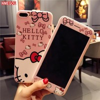 Hello Kitty 360 Full Cover Phone Case for IPhone7 IPhone8 IPhonex KT Cat Cases for IPhone X 8 7 6 S 6S Plus Soft Cartoon Cover