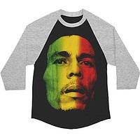 Bob Marley - Tri-Color Face Adult Raglan T-Shirt