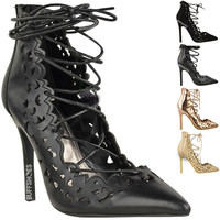 WOMENS LADIES CELEB STYLE HIGH HEEL LACE UP CUT OUT PUMPS PROM COURT SHOES SIZE