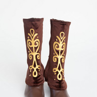 Anna Custom Frozen Spat and Boots in Brown Adult Costume