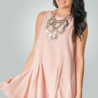 Pink Backless Pleated Dress