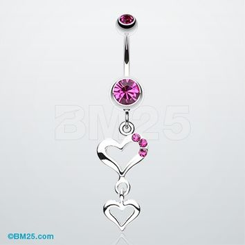 Duet Hearts Sparkle Belly Button Ring