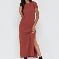 Long Journey Ribbed Slit Maxi Dress