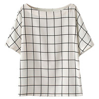ROMWE Check Midriff White Blouse