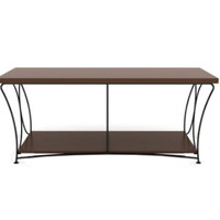 Nuvo 2-Tier TV Stand with Shelf Transitional Living Room Furniture Mocha Finish