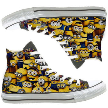 minions painted shoes, custom shoes by natalshoes