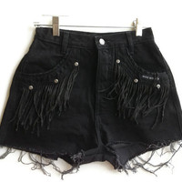 High Waisted Denim Shorts Black Fringe Jean Shorts Western