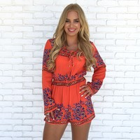 World Traveler Romper in Red