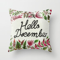 Hello December Throw Pillow by Menis_art