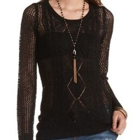 Cable Front Open Knit Tunic Sweater by Charlotte Russe