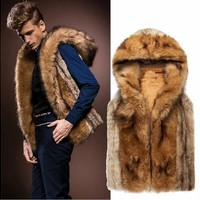 Men Fashion Fur Hoodie Vest Parka Coat Sleeveless Warm Winter Hooded Jacket S-XL [9210699971]