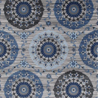 2611 Blue Medallion Transitional Area Rugs