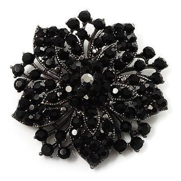 2.2 Inch Vintage Silver Black Rhinestone Crystal Starfish Brooch Party Prom Jewelry Gifts
