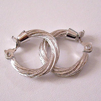 Monet Threaded Hoops Clip On Earrings Silver Tone Vintage Large Round Swirl Brushed Ribbed Open Rings