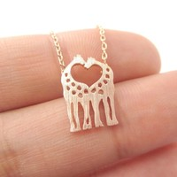 Kissing Giraffe Animal Shaped Silhouette Pendant Necklace in Rose Gold | DOTOLY