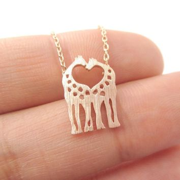 Kissing Giraffe Animal Shaped Silhouette Pendant Necklace in Rose Gold   DOTOLY