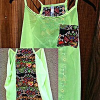 CABO NIGHTS LIME TRIBAL TOP