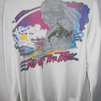 Vintage 80s Shirt End of Trail Native American Long Sleeve Neck Cut Out Rainbow Magical Chief Psychedelic Spiritual