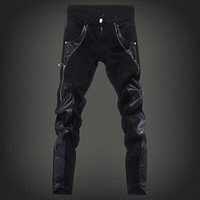 Free shipping new 2017 fashion leather patchwork skinny jeans men brand punk style slim fit pencil pants men /PK6