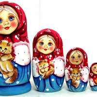 FREE SHIPPING Matryoshka nesting dolls Girl with cat 5 psc Traditional Russian wood toy hand painted curved wood nested doll stacking doll