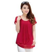 2019 summer women chiffon blouse tops  O-Neck Short sleeve Casual loose Blouses LR0089M