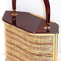 Mid Century Lucite Handbag Purse Majestic Metal Gold Ribbon 6 sided Never Used